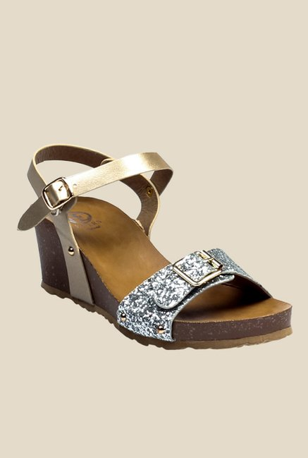 5f13cf84abe Buy Pavers England Silver   Golden Ankle Strap Wedges for Women at Best  Price   Tata CLiQ