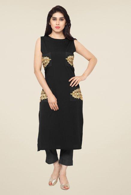 Ahalyaa Black Embellished Kurta