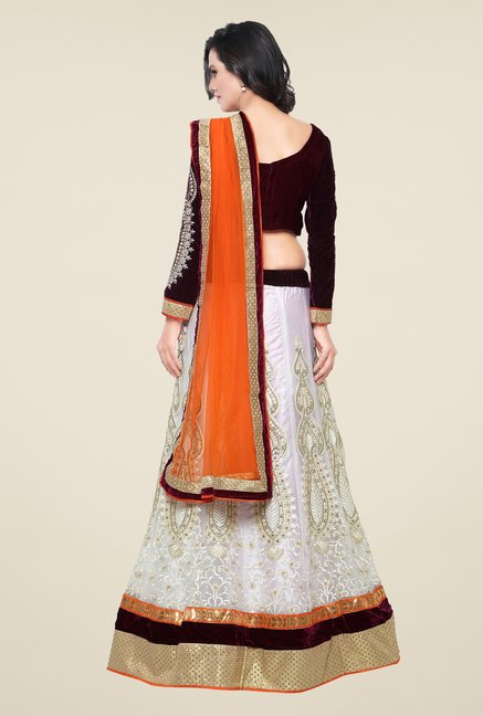 Triveni White & Maroon Embroidered Lehenga Choli
