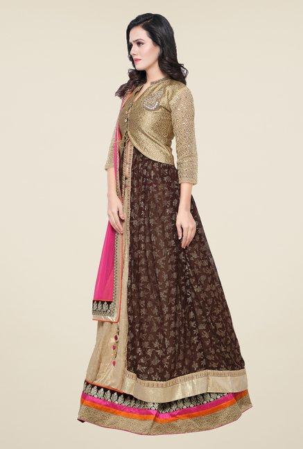 Triveni Gold & Beige Embroidered Lehenga Choli