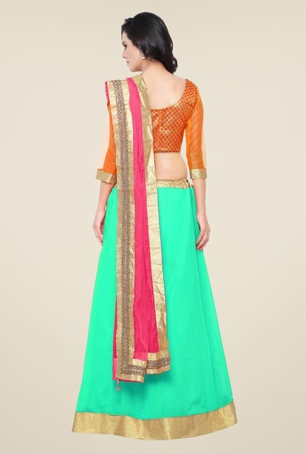 Triveni Turquoise & Orange Printed Lehenga Choli