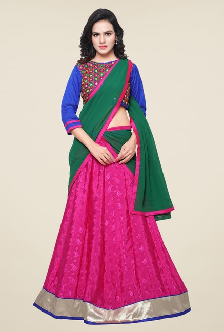Triveni Pink & Blue Embroidered Lehenga Choli