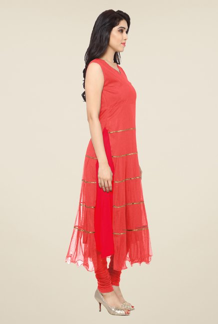 Ahalyaa Red Solid Kurta