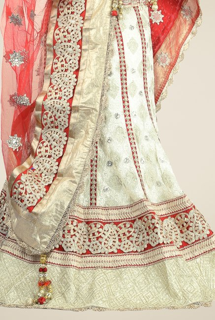 Triveni Cream & Red Embroidered Lehenga Choli