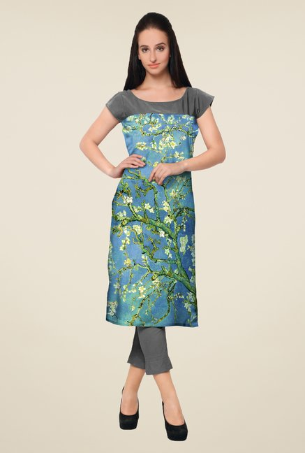 Ahalyaa Blue & Grey Printed Kurta