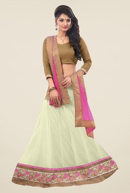 Triveni Cream & Olive Striped Lehenga Choli