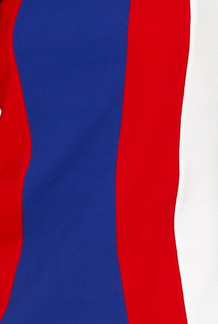 109 F Blue & Red Solid Dress