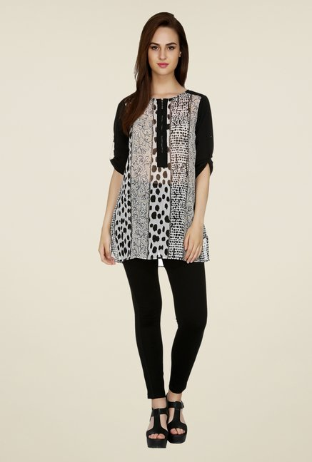 109 F Beige & Black Printed Tunic
