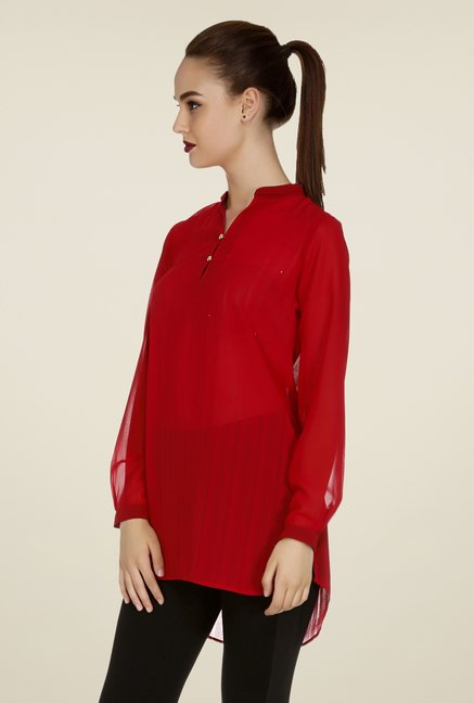 109 F Red Solid Tunic