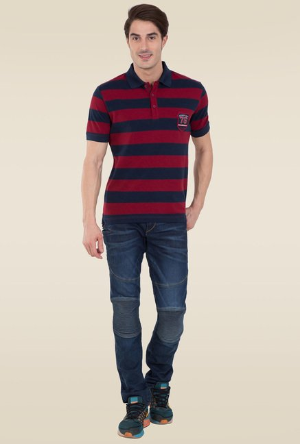 a3791e8e1 Buy Jockey Navy & Deep Red Half Sleeve Polo T-Shirt - US93 for Men Online @  Tata CLiQ