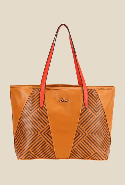 Lavie Football Tan Printed Tote Bag