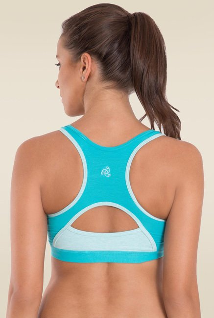 Jockey Teal & Mint Melange Power Back Padded Active Bra - 1380