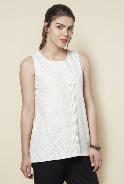 Zudio Off White Printed Kurti