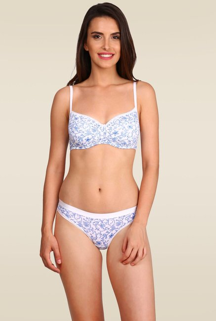 Jockey White Printed Non-Wired Padded Bra - 1723