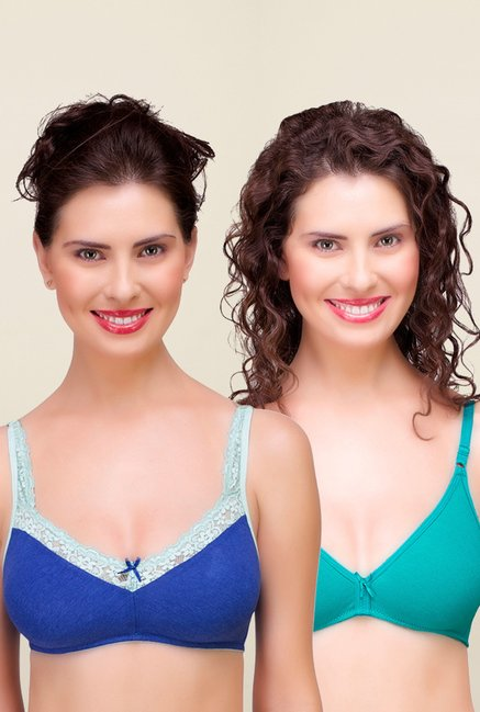 Inner Sense Blue & Teal Non Padded Bra (Pack of 2)