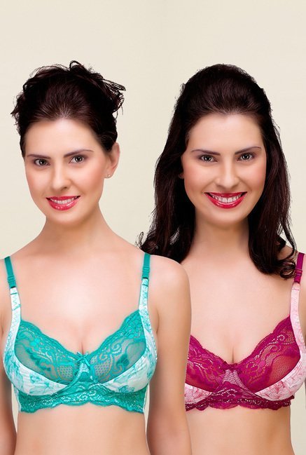 Inner Sense Teal & Magenta Non Padded Bra (Pack of 2)