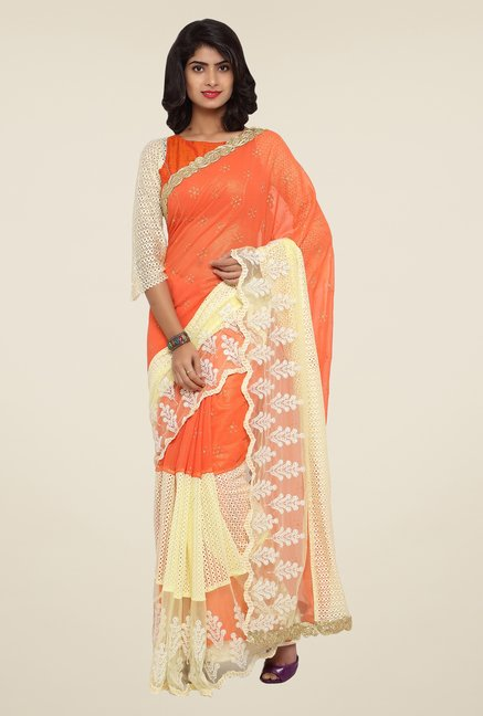 Triveni Orange Embroidered Faux Georgette Net Saree