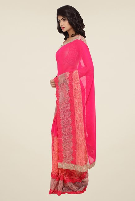 Triveni Pink Embroidered Faux Georgette Net Saree