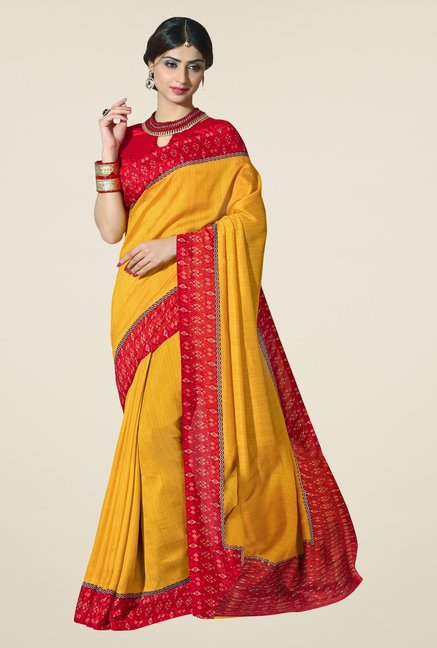Triveni Yellow Textured Silk Saree