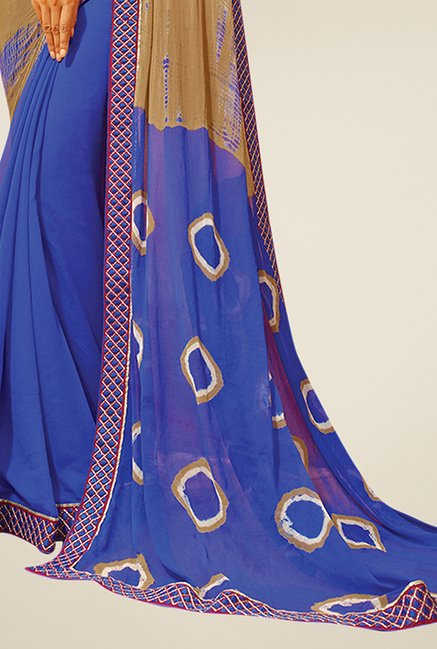 Triveni Blue & Beige Printed Faux Georgette Saree