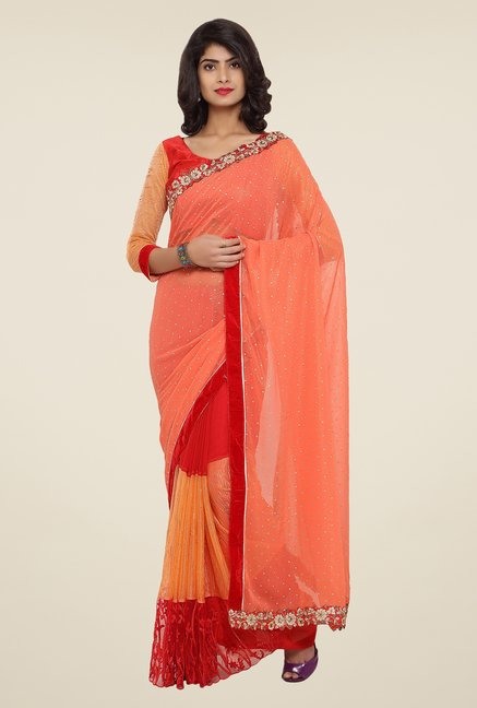 Triveni Peach Embroidered Faux Georgette Saree
