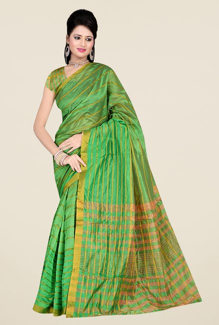 Triveni Green Striped Silk Saree