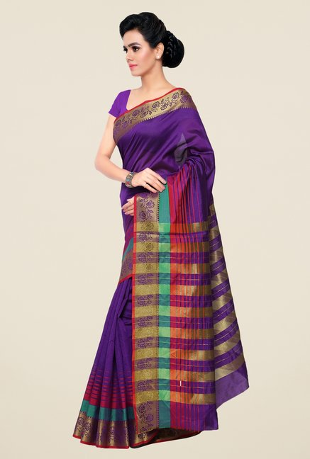 Triveni Purple Striped Silk Saree