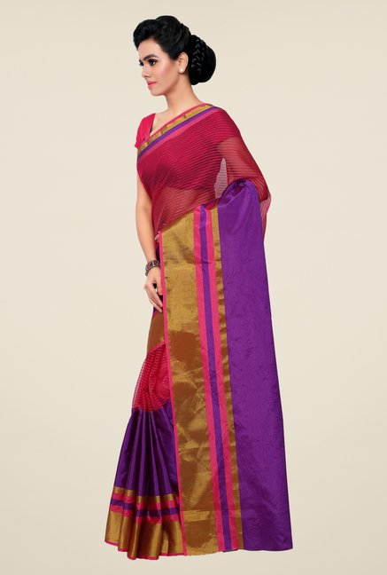 Triveni Purple & Magenta Striped Silk Saree
