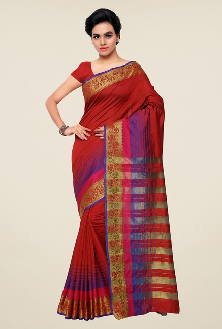 Triveni Red Striped Silk Saree