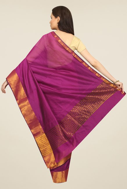 Pavecha's Purple Solid Cotton Polyblend Banarasi Saree