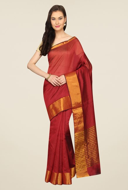 Pavecha's Rust Solid Cotton Polyblend Banarasi Saree
