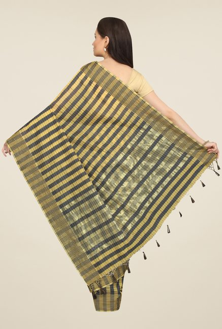 Pavecha's Yellow & Grey Cotton Polyblend Banarasi Saree