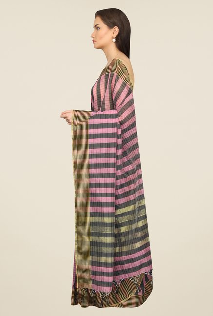 Pavecha's Pink & Grey Checks Cotton Polyblend Banarasi Saree