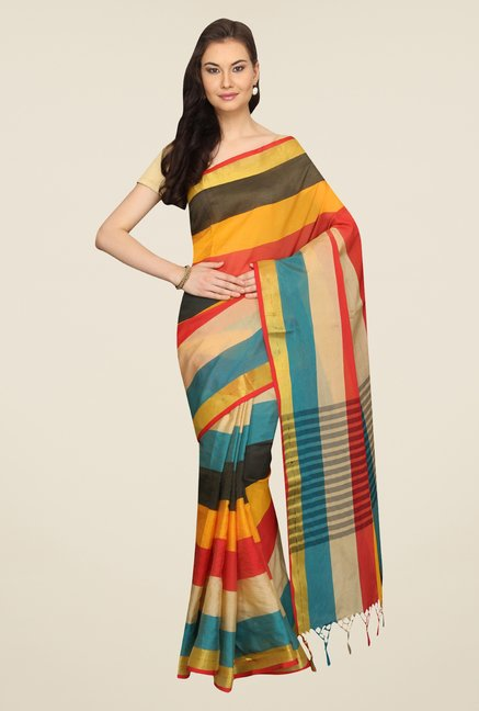 Pavecha's Multicolor Striped Cotton Polyblend Banarasi Saree