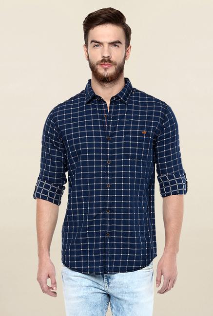 920b3ab8bc9 Mufti Navy Cotton Checkered Shirt