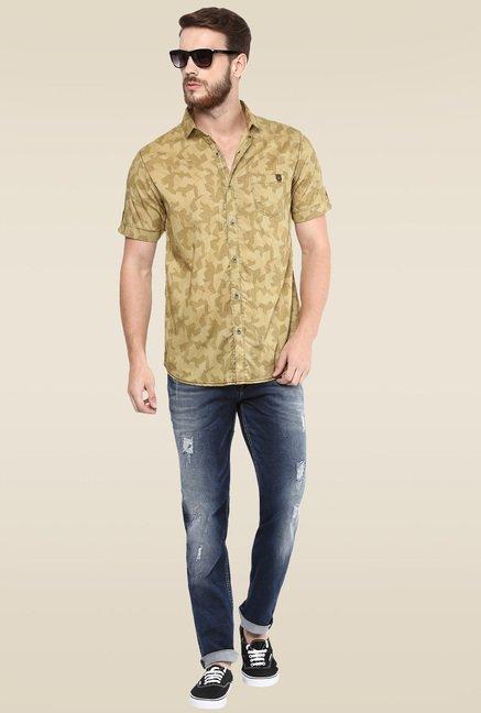 f5b5270bb40 Buy Mufti Khaki Half Sleeves Shirt for Men Online   Tata CLiQ