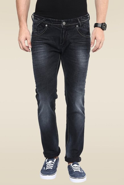 Mufti Black Stone Mid Rise Acid Washed Jeans