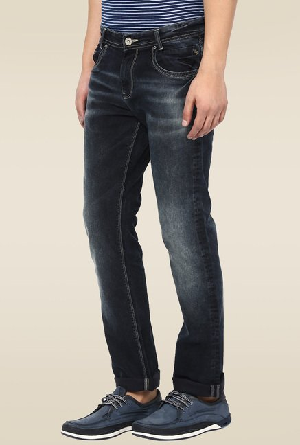 Mufti Black Stone Acid Washed Straight Fit Jeans