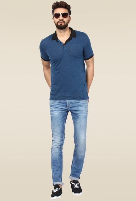 Mufti Mid Blue Slim Fit Jeans