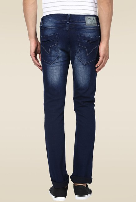 Mufti Deep Blue Mid-rise Jeans
