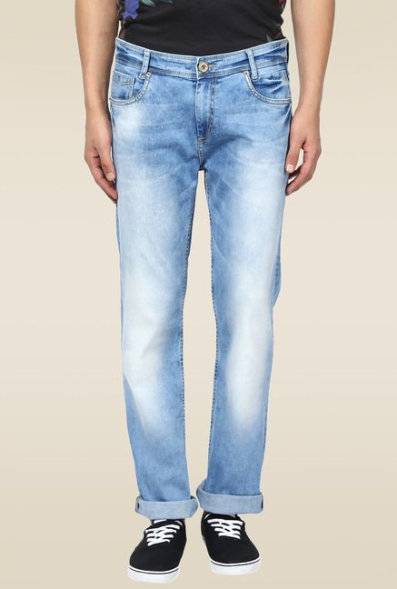 Mufti Light Blue Straight Fit Jeans