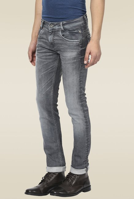 Mufti Grey Acid Washed Jeans