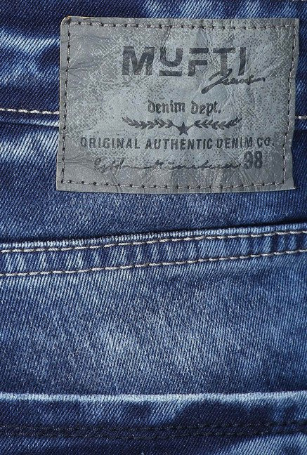 Mufti Dark Blue Straight Fit Acid Washed Jeans