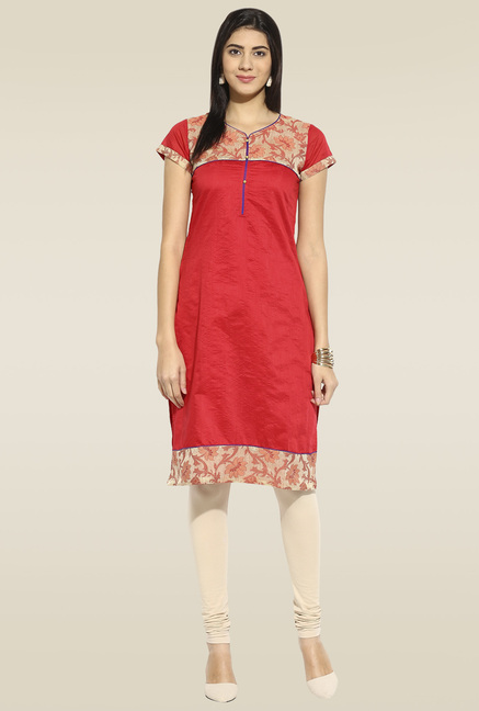 Mytri Red Regular Fit Kurta