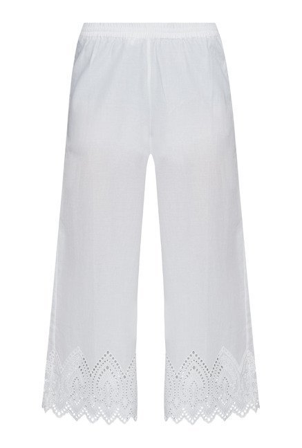 Zuba by Westside White Solid Palazzos