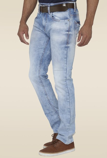 Greenfibre Ice Blue Solid Jeans