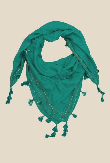 Grishti Miraan Green Rayon Scarf with Tassels