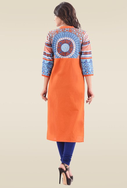 Hirshita Blue & Orange Printed Regular Fit Kurti