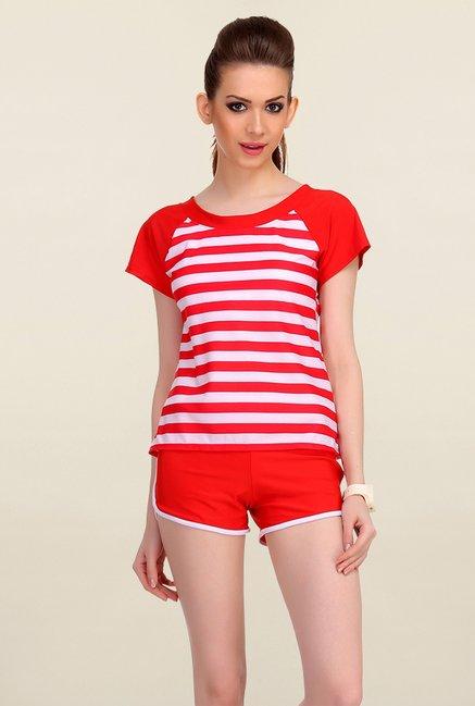 Clovia Red & White Striped Beachwear