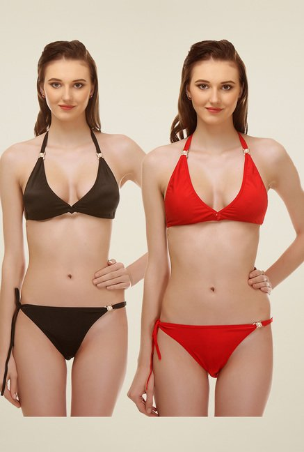 94a0fd62f4d70 Buy Urbaano Black   Red Non-padded Lingerie Set (Pack of 2) for ...